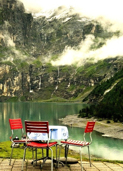 by Feffef on Flickr.Gorgeous place to dine at Oeschinensee in the Bernese Oberland, Switzerland.
