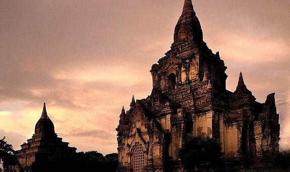 by Sara Heinrichs on Flickr.Sunset at Bagan temples in Bagan, Myanmar.