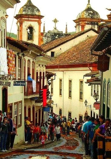 The charming colonial town of Ouro Preto in Minas Gerais, Brazil