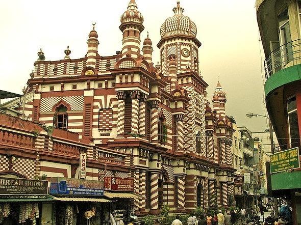 Painted Jami-Ul-Alfar Mosque in Colombo, Sri Lanka