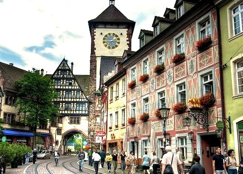 Beautiful street scenes in a nice summer day, Freiburg, Germany