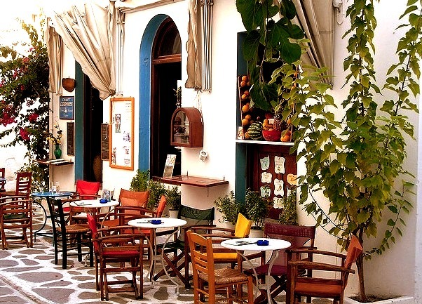 A nicely decorated cafe in Parikia, Paros Island, Greece