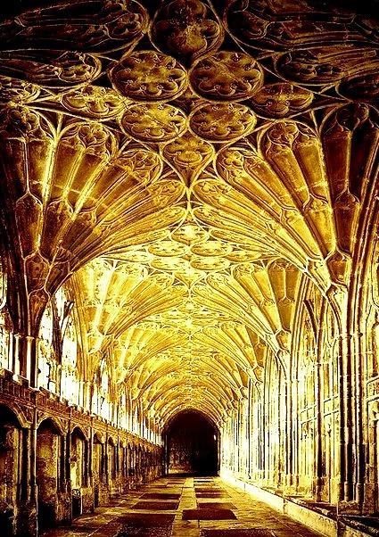 Sunlight, The Cloisters, Gloucester, England