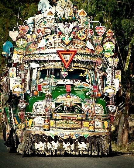 Colourful decorated bus on the roads of Pakistan