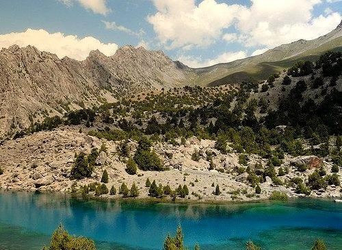 Beautiful glacier waters of Guitar Lake in Fan Mountains, Tajikistan
