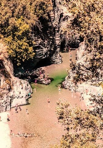 Birds eye view at Alcantara Gorges in Sicily, Italy