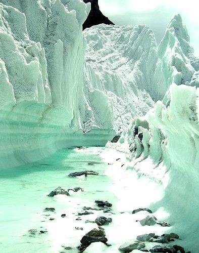 Glacier stream on Karakorum Mountains, northern Pakistan