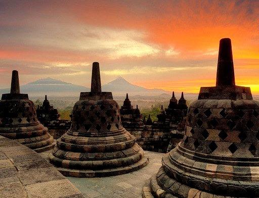 Sunrise over Borobudur Temple in Java, Indonesia
