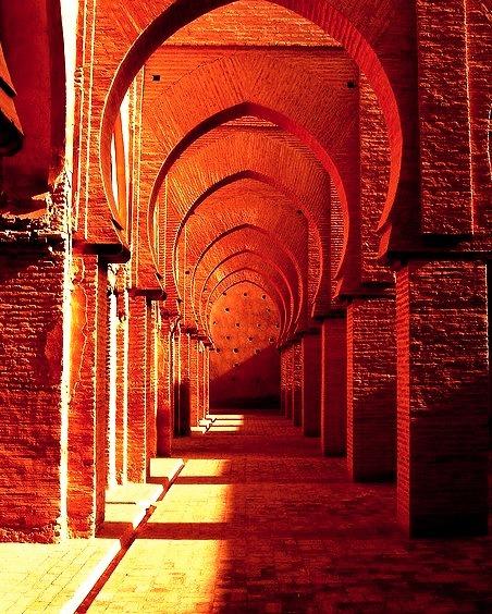 Arches of Tin Mal Mosque in Atlas Mountains, Morocco