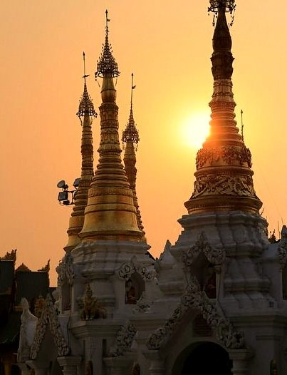 Sunset at Shwedagon Pagoda in Yangon, Myanmar