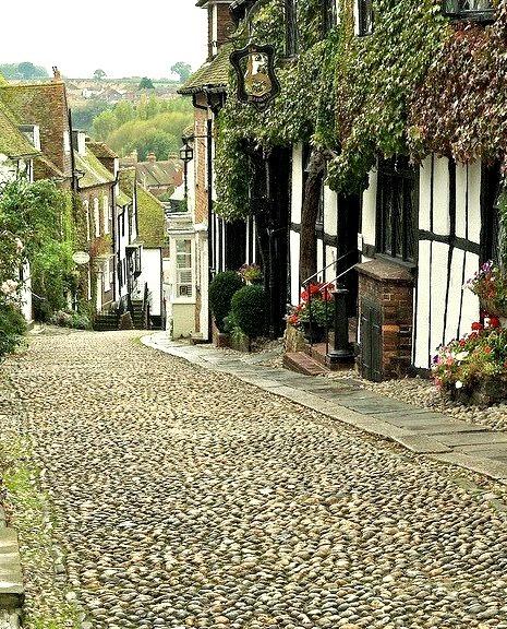 Picturesque Mermaid Street in Rye, East Sussex, England