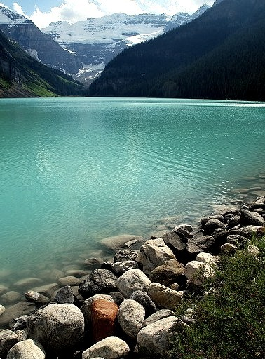 On the shores of Lake Louise in Banff National Park, Canada