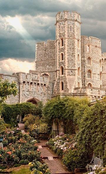 Windsor Castle from the rose garden, England