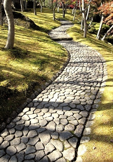 Stone pavement in the maple garden at Hakone Museum, Japan